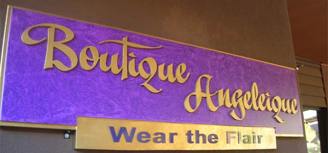 Boutique Angelique Sedona clothing wall sign