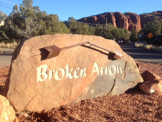 Broken Arrow sandblasted sign