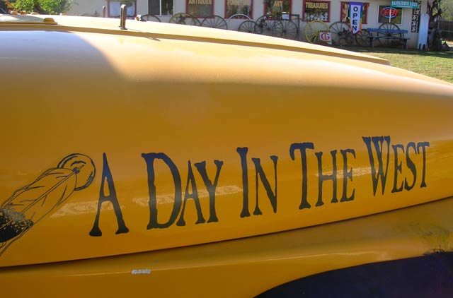 Day in the West car lettering
