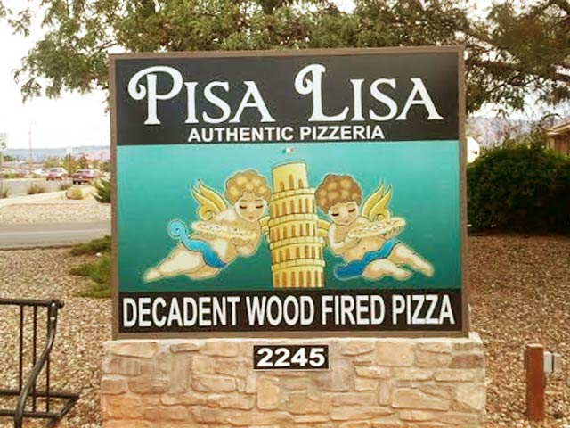 Pisa Lisa restaurant Sedona sign