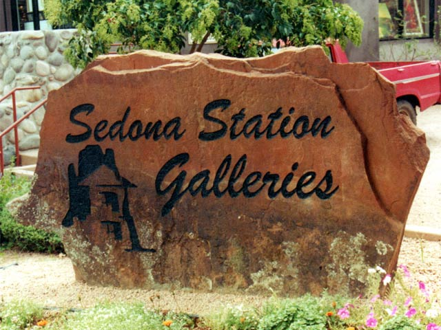 Sedona Station etched rock sign