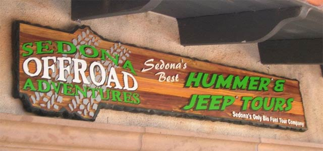 Sedona offroad adventures sign
