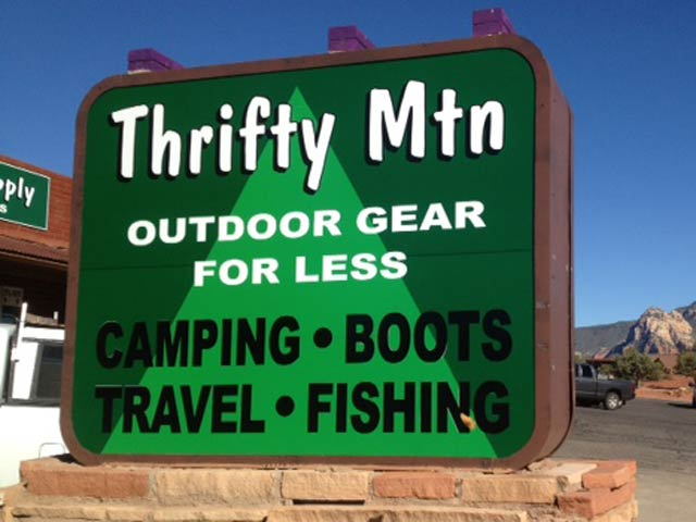 Thrifty Mountain Supply Sedona sign