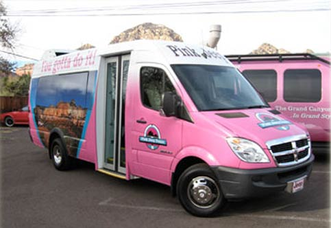 Pink Jeep Tours Bus Wrap