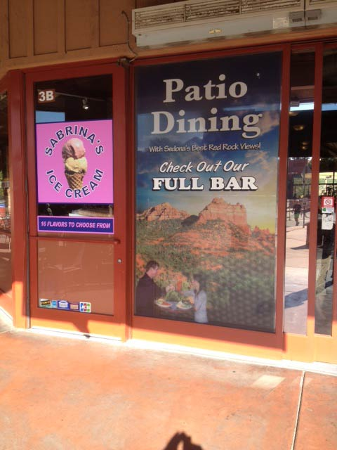 sabrinas ice cream sedona window graphics