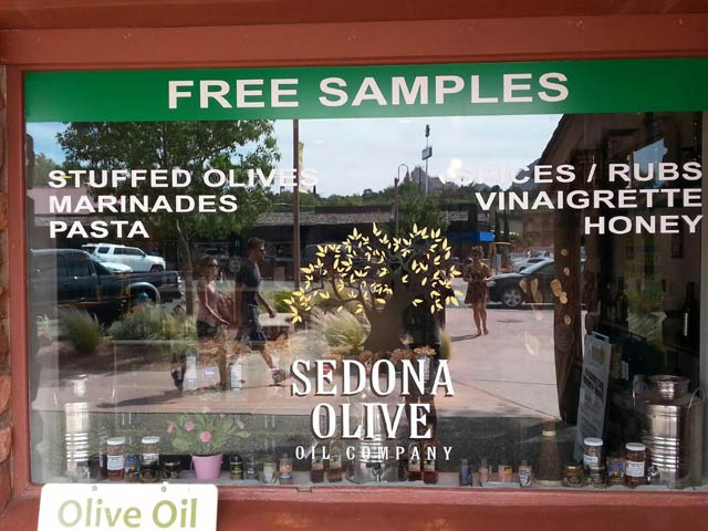 sedona olive oil company window graphics